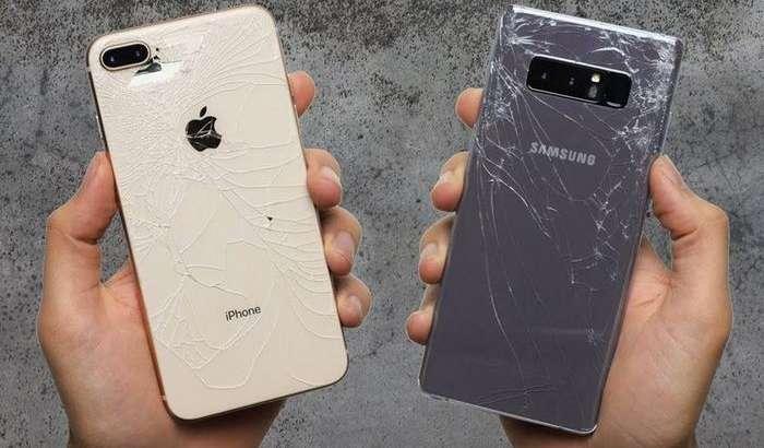 Эксклюзив видео: iPhone 8 Plus ва Galaxy Note 8'ни бетонга ташлаб синашди!