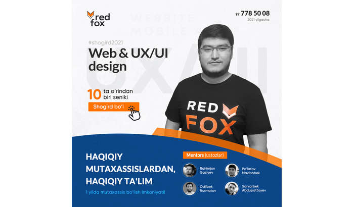 Web & UX/UI бўйича шогирдликка қабул бошланди